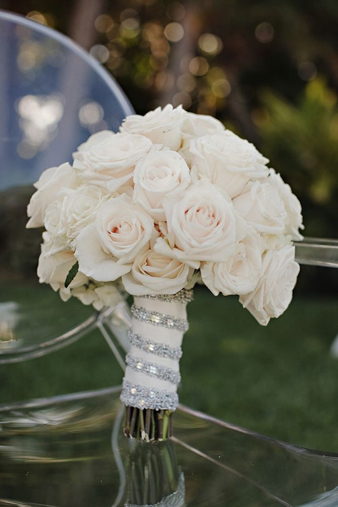 Glam Wedding Bouquet   Bridal Bouquet with Roses and Rhinestones