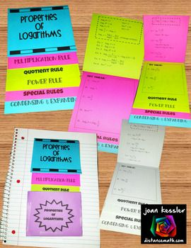 Properties of Logarithms Foldable Flip Book. Great for Interactive Notebooks. PreCalculus students love this.