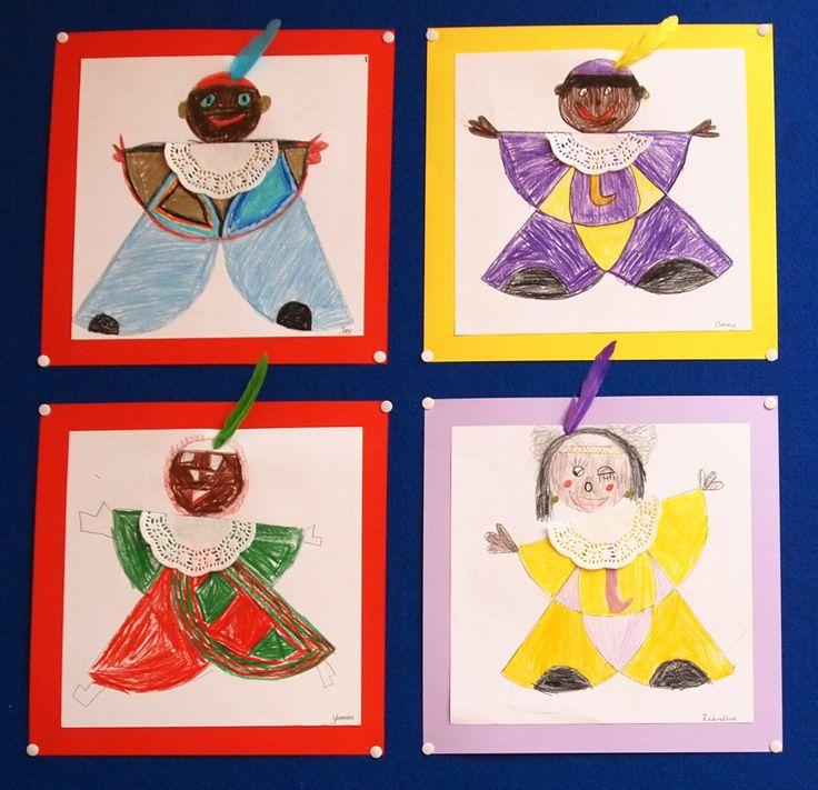 Tekenles geïnspireerd op de Pietjes uit het boek rondvouwen van Thea van Mierlo. De kinderen krijgen allemaal een mal van een halve cirkel. Deze laat je drie keer omtrekken. Je kunt er voor kiezen om ook een mal van een (kleinere) cirkel uit te delen voor het hoofd. De kraag is er later op geplakt en kan ook gemaakt worden van een halve papieren cup cakevorm. Een veer op de muts en klaar! Er is gewerkt met kleurpotlood en dit jaar was de opdracht complementaire kleuren te gebruiken.