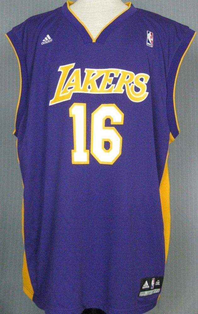 8e18fbe24 Los Angeles Lakers 2XL Champ Pao Gasol  16 Purple Jersey ( XX 2X XXL-Large  LA )  Adidas  LosAngelesLakers