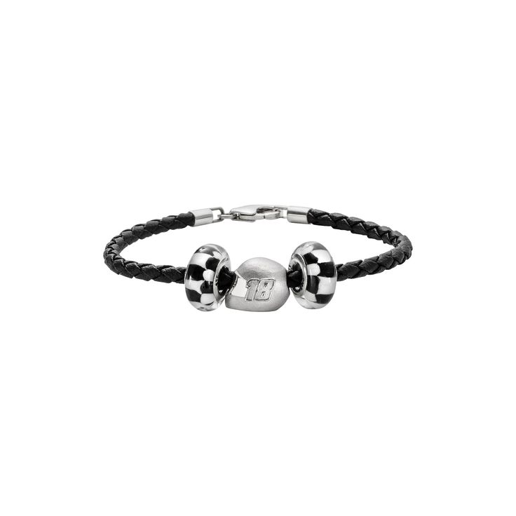 Insignia Collection Nascar Kyle Busch Leather Bracelet and Sterling Silver 18 Helmet Bead Set, Women's, Black