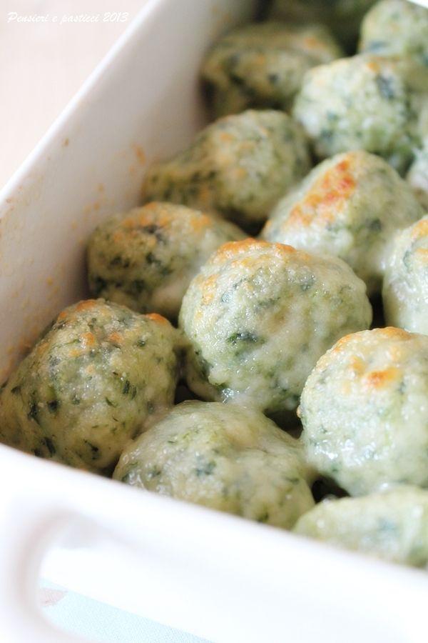 Gnudi ( o malfatti) agli spinaci, gratinati al forno   pensieri e pasticci