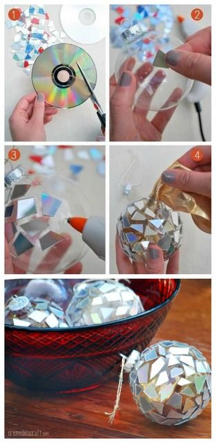 DIY CD Christmas Ornament