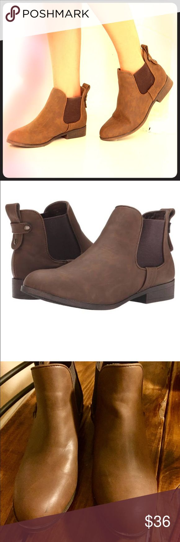 Madden Girl Brown ankle boots 7.5 Super cute and comfy flat ankle booties! Worn once, too small for me Madden Girl Shoes Ankle Boots & Booties