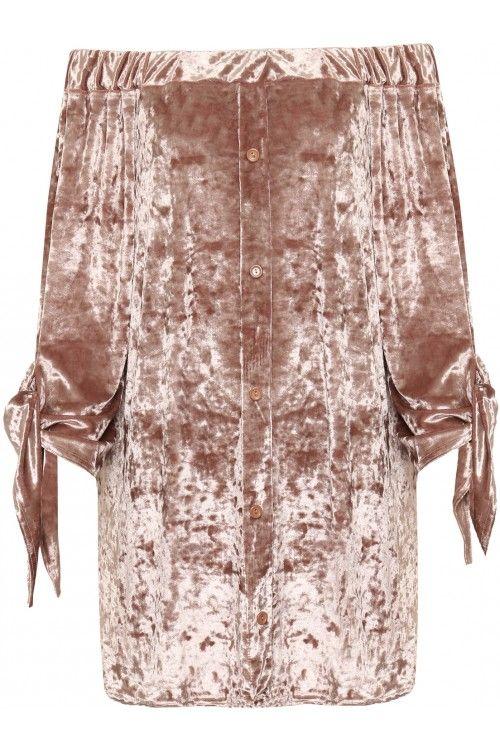 Maybelle Crushed Velvet Bardot Top | WearAll