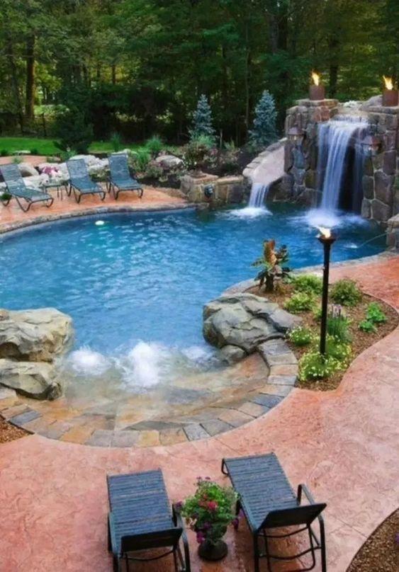 Piscina criativa com idéias de slides para atividades divertidas   DecorTrendy   – Backyard Pools