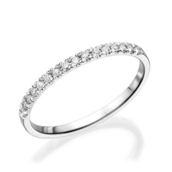 Half Eternity Wedding Band, 14K White Gold Ring, 0.12 CT Diamond Eternity Ring, Thin Gold Ring, Eternity Band Size 5.5