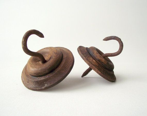Wood Escutcheons with Hooks / Antique Wall or Ceiling by gazaboo