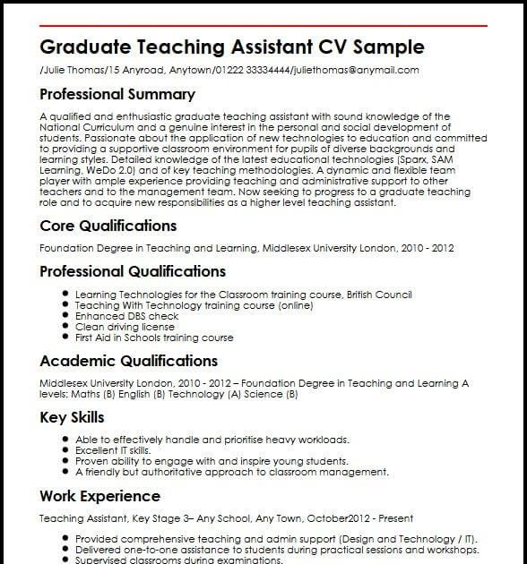 Graduate Teaching Assistant Cv Samples Resume Templates 2020 Resume Objective Examples Cv Examples Resume Examples