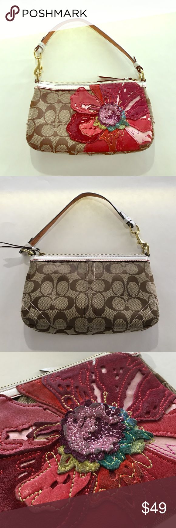 """Coach Poppy pochette signature fabric flower purse A darling Coach pochette with a poppy flower on the front. Signature tan fabric and white leather trim. Overall fair used condition showing signs of use and some dirty marks. 9"""" wide 5.5"""" tall 2"""" deep, 6"""" strap drop. Sorry no trades.  Coach Bags Mini Bags"""