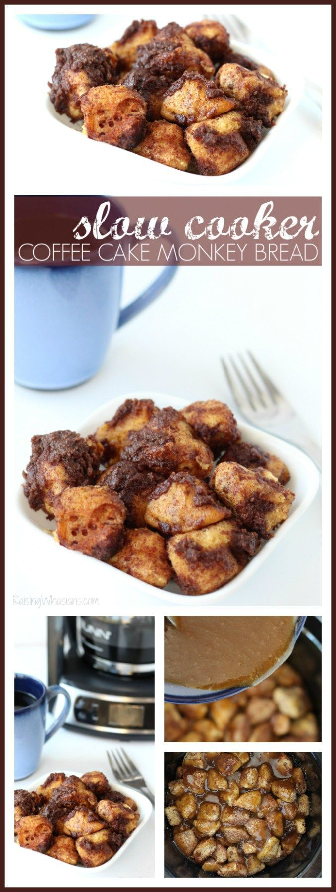 Slow Cooker Coffee Cake Monkey Bread | Breakfast or Dessert? You decide with this delicious and easy crockpot recipe! - Raising Whasians (AD)