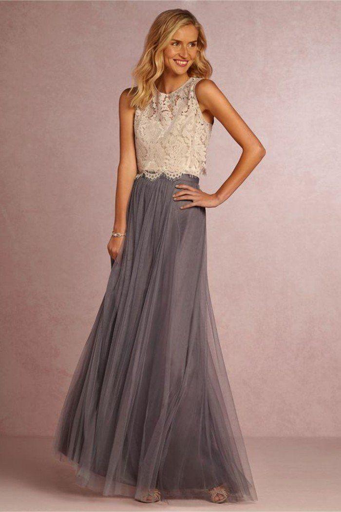 robe de soirée pour mariage chiffon gris, top en dentelle beige