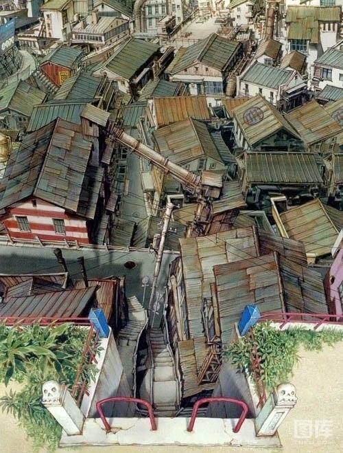 """Tekkonkinkreet"" by Shinji Kimura* Background Art | © Studio 4°C Animation Studios  • Blog/Website | (www.studio4c.co.jp)"