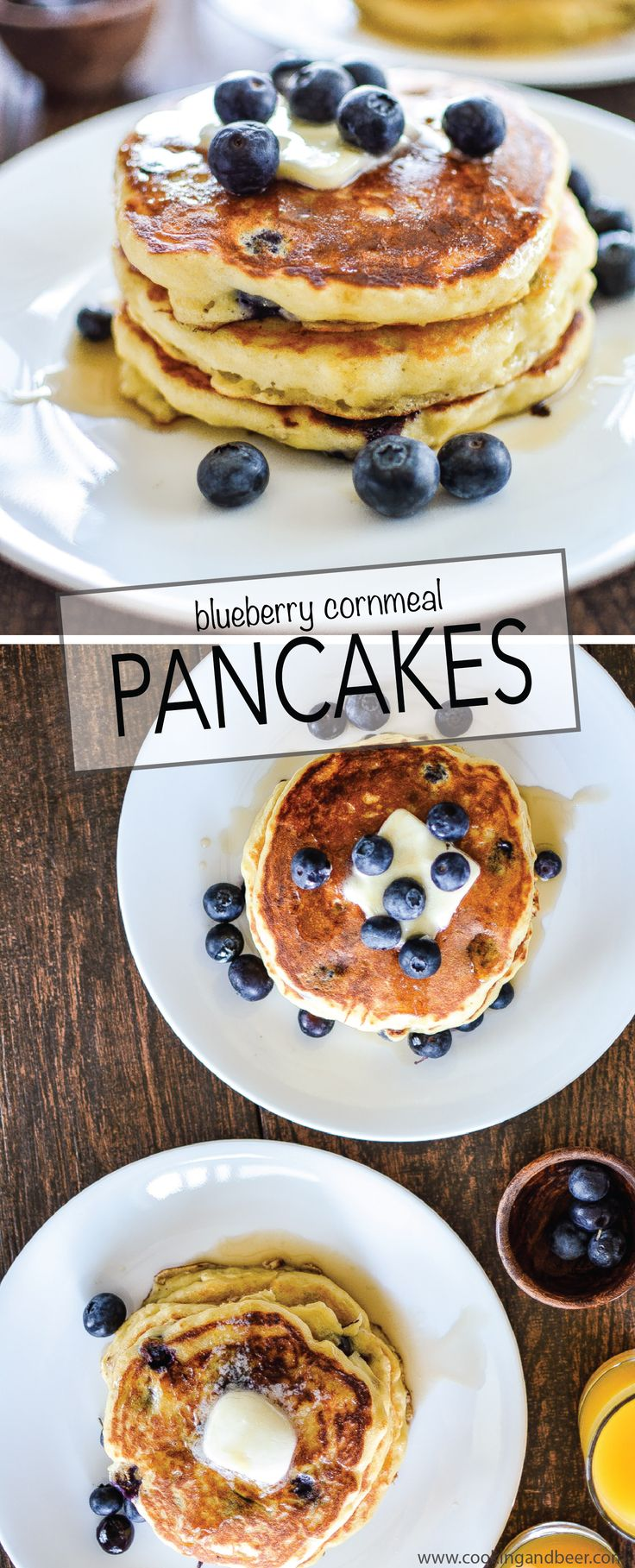Blueberry Cornmeal Pancakes: a fun spin on a breakfast classic that has a little more texture and a lot more flavor! | www.cookingandbeer.com