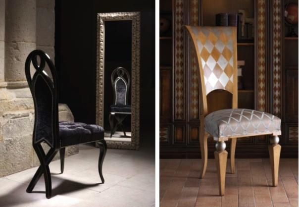 Испанская мебель ручной работы > Дизайнерская мебель > Коллекция Классика > Лола Гламур (Испания) Стул LG15012 (справа), LG10011 (слева)