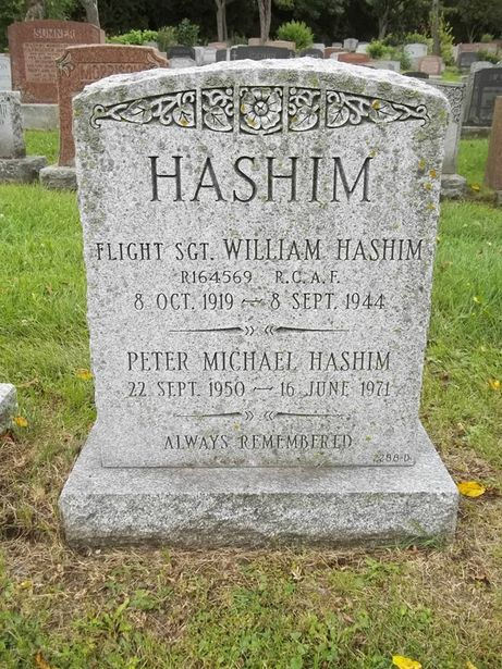 William Hashim died aged 24 when his aircraft crashed near North Battleford, Saskatchewan. His body now lies in Mount Royal Cemetery in his home city of Montreal.
