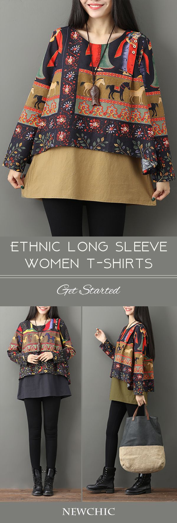 [Newchic Online Shopping] 46%OFF Gracila Women's Ethnic Layered Print T-shirts with Long Sleeve and O-neck
