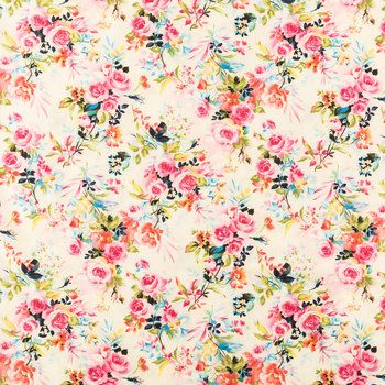 Pink & Blue Floral Cotton Calico Fabric