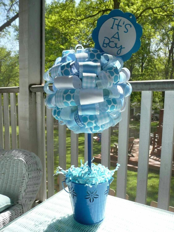 It s a boy baby blue and white ribbon centerpiece topiary