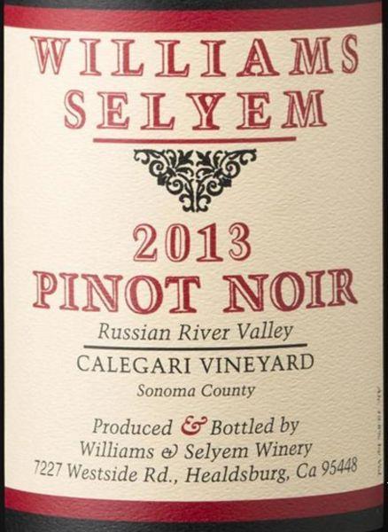 2013 Williams Selyem Pinot Noir Calegari Vineyard