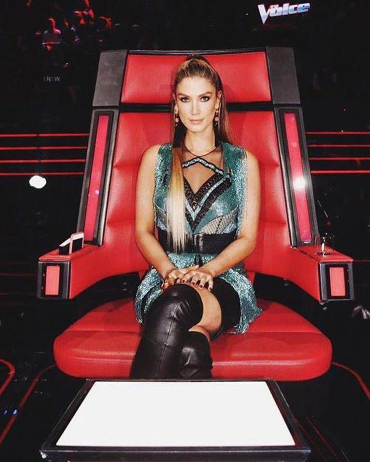 Delta Goodrem wears Philippa Galasso couture on The Voice Australia