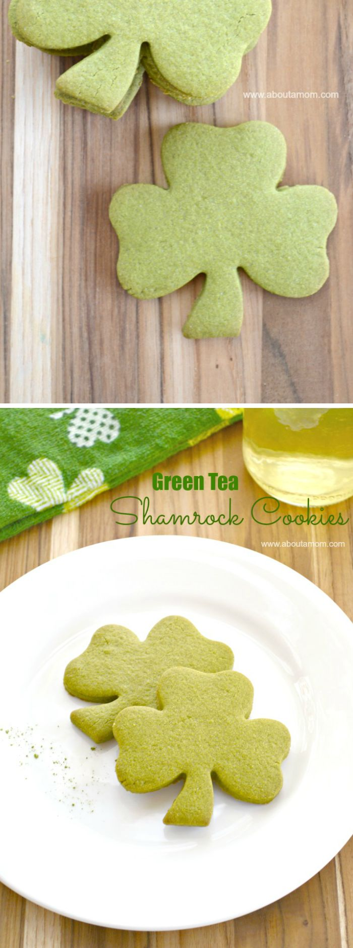 Matcha green tea powder gives Green Tea Shamrock Cookies their beautiful green color. Loaded with antioxidants, green tea is a healthy ingredient for St. Patrick's Day cookies.