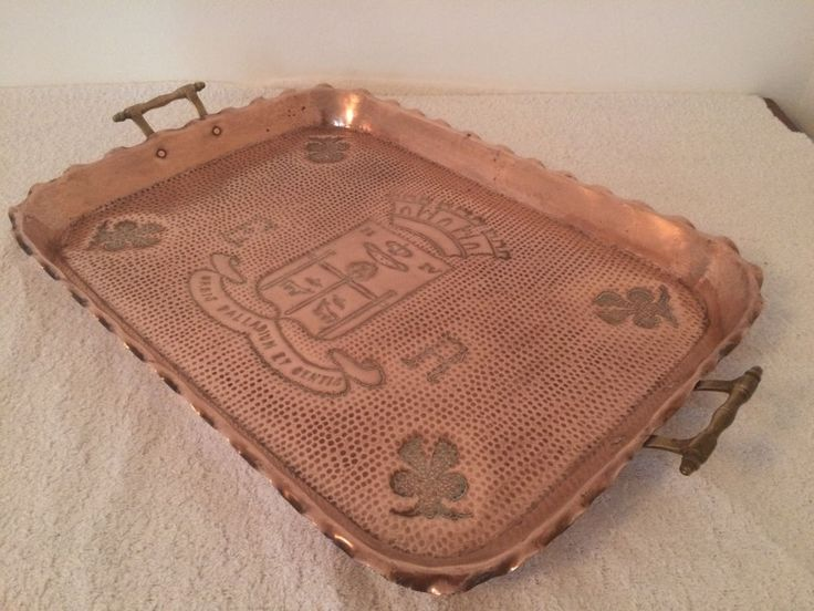 ANTIQUE COPPER TRAY HAMMERED FRENCH COOKWARE