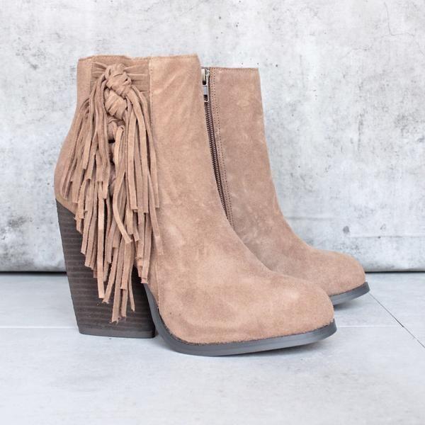 very volatile - dreamcatch light brown suede fringe bootie (women) - shophearts - 1