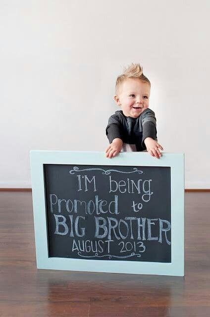 "Love this ""Promoted to big brother"" pregnancy announcement. So cute and sweet to include siblings."