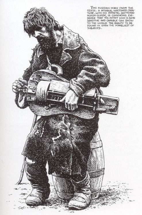 "Robert Crumb - ""Russian Hobo"". love his use of cross hatching, and the way in which he layers his drawings."