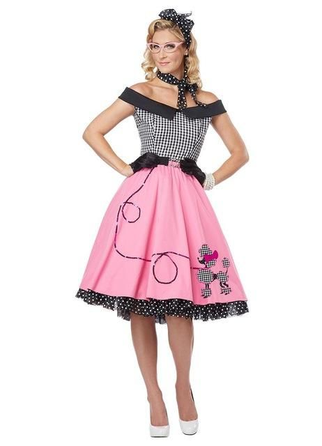 Cheap Classic Nifty Fifties Pink Women's Poodle Skirt Costume Fancy Dresses W208635