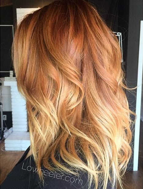 Copper shadow root with blonde balayage, copper hair color for auburn ombre brown amber balayage and blonde hairstyles