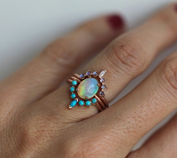 Ocean Ring Set, Engagement Ring Set with Oval Australian Fire Opal, Moonstone, Diamond & Turquoise Curved Band Rings, Bridal or Wedding Set