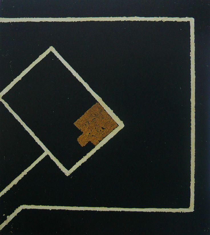 Mulasics László: Domus Aurea II., 1987, 70 x 60 cm, szén, viasz, metá,l vászon / carbon, wax and metal on canvas