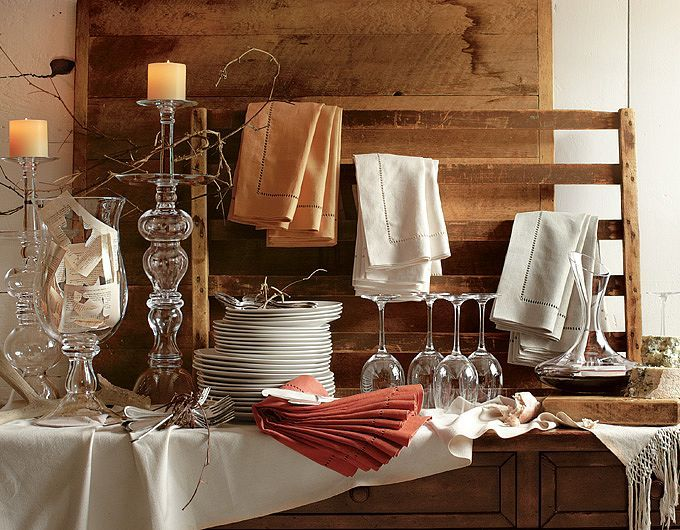 Pottery Barn: stock a buffet with Entertaining Essentials- flatware, linens, napkin rings, napkins