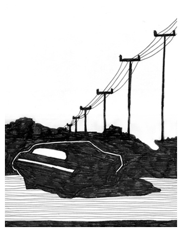 Affaire // illustration // black and white // fineliner // realistic // graphic // drawing // car // electrical cords // road // emtpy space