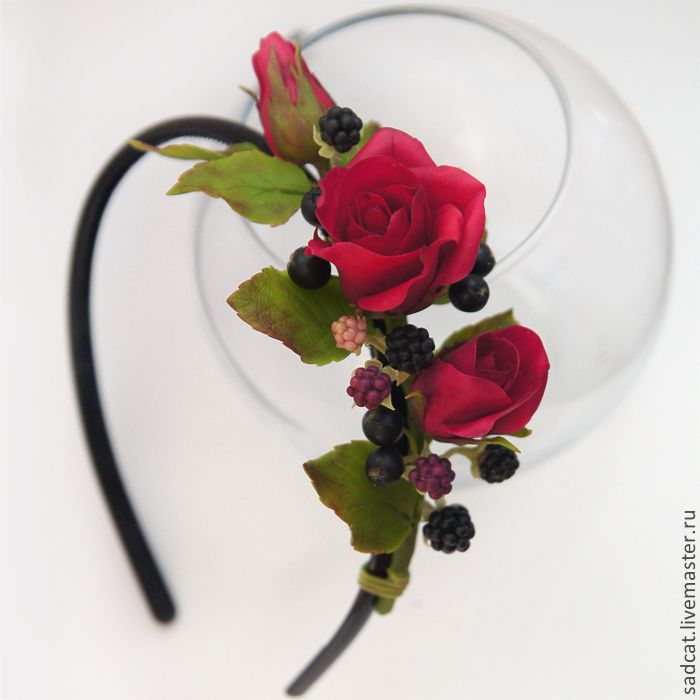 Купить Ободок с розами и ягодами - ободок для волос, ободок с цветами, ободок с ягодами, ягоды