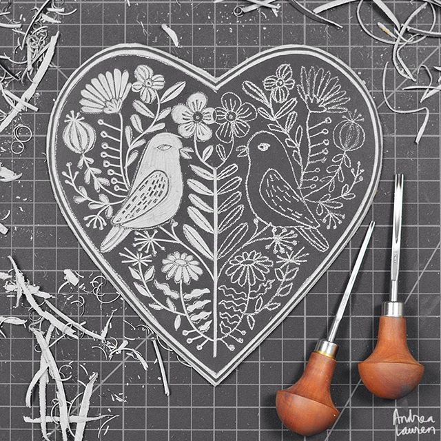 Andrea Lauren (@inkprintrepeat) | Carving some lino love birds | Intagme - The Best Instagram Widget