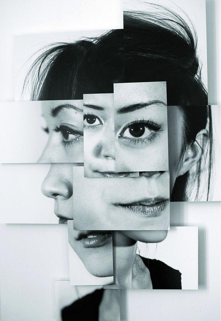 Composizione viso con foto da diversi angoli e livelli zoom