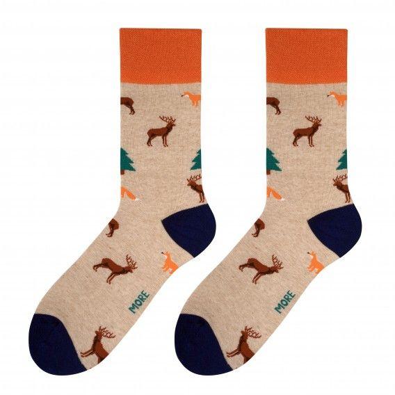 Pánske ponožky svetlo hnedej farby s motívom lesných zvierat