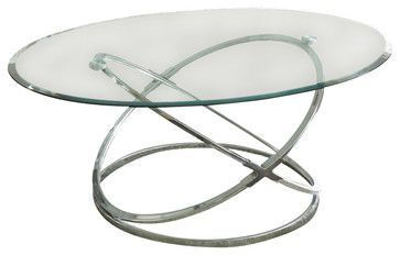 Steve Silver Orion 3-Piece Glass Top Coffee Table Set with Chrome Base traditional-coffee-tables