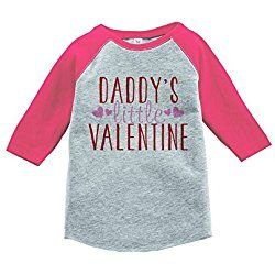 Custom Party Shop Girl's Daddy's Little Valentine Toddler Vintage Baseball Tee 5T Pink and Grey