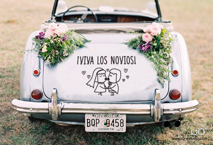 Vinilo Coche Boda Original Viva los novios UO Estudio Creativo