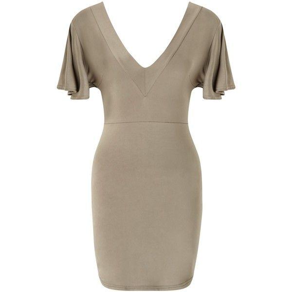 Miss Selfridge Petite Twist Back Dress, Olive (32,965 KRW) ❤ liked on Polyvore featuring dresses, olive green dress, miss selfridge, twist back dress, brown dress and petite dresses