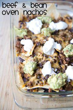 Beef and Bean Oven Nachos Recipe on 5DollarDinners.com