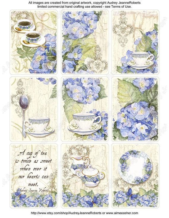 Aquarel digitale blauwe hortensia thee originele kunst Atc Tag Collage Sheets AJR-035 pot kopje blauwe hortensia lepel ephemera lace thee bekers floral
