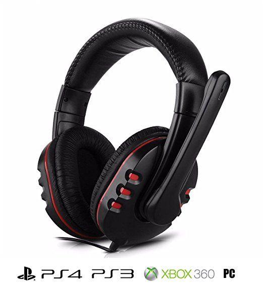 AntilaTech Gaming Headset per PlayStation (PS4 / PS3), le console Xbox 360, PC e Mac - Wired, Over-Ear, stereo, bassi profondi, Surround Sound, Rumore che annulla le cuffie con microfono e volume indipendente per Chat & Gioco controllo - Ideale per gli appassionati di videogiochi (Black)