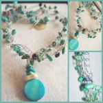 €30   3 strands genuine turquoise (some dyed) chips on very strong flexible crocheted beading wire, dyed blue shell pendant, toggle clasp closure. approx 20 inches long.