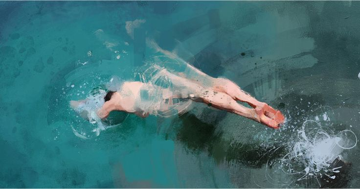Here's a lovely series of swimming figures painted by Colombian illustrator and painter Pedro Covo. Covo splendidly captures the obscuring nature of water as splashes are rendered in frenetic splatters of paint, and the sinuous lines of bodies seem to evaporate into brush strokes. The artist most re