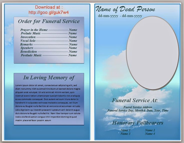 Free Blue Cloud Funeral Program Template In Microsoft Word 2007, 2010 To  Download  Funeral Programs Templates Free Download